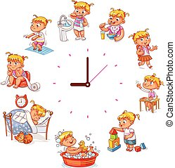 quotidiennement, simple, routine, montres