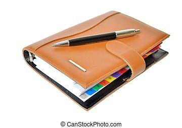 quotidiennement, stylo, planificateur