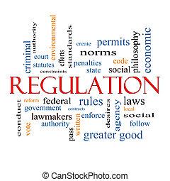 règlement, concept, mot, nuage