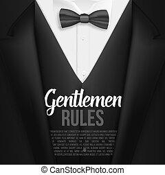 règles, liste, mens, messieurs, réaliste, suit., vecteur, costume noir, template.