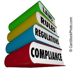 règles, manuels, conformité, règlements, livres, pile, lois