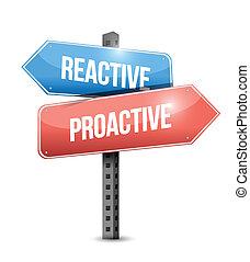 réactif, conception, proactive, illustration, signe