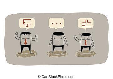 réaction, business, commercialisation, question, recherche, homme