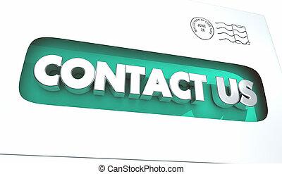 réaction, enveloppe, portée, illustration, nous contacter, courrier, dehors, 3d