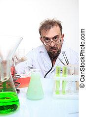 réaction, fou, laboratoire, chimiste