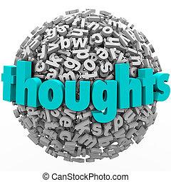 réaction, idées, comments, sphère, lettre, pensées