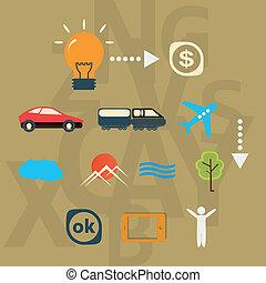 réalisation, ensemble, idée, voyage, icônes