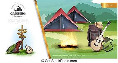 réaliste, été, coloré, gabarit, camping