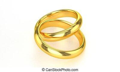 réaliste, anneaux, doré, mariage