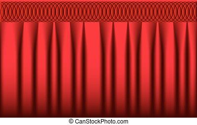 réaliste, arrière-plan., vecteur, rideau, curtain., rouges