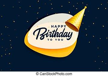 réaliste, célébration anniversaire, heureux, bannière, casquette