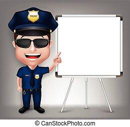 réaliste, caractère, homme, police, 3d