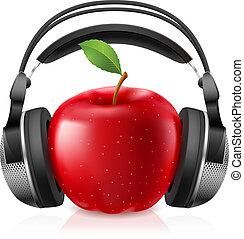réaliste, casque à écouteurs, informatique, pomme, rouges