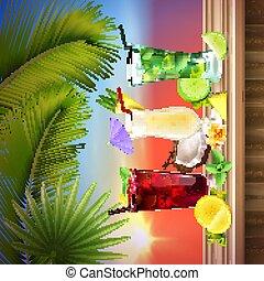 réaliste, composition, cocktails, ensemble