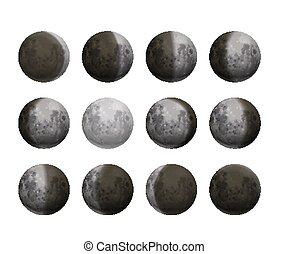 réaliste, cycle, nouveau, blanc, entier, détaillé, phases lune, entiers, satellites