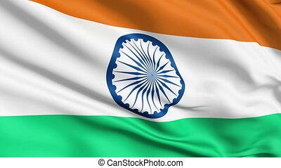 réaliste, drapeau, inde, vent