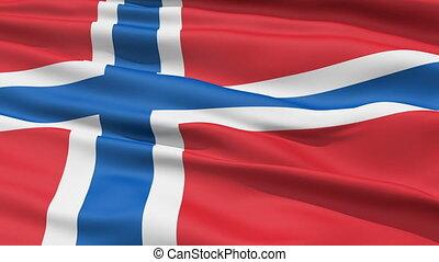 réaliste, drapeau, norvège, vent