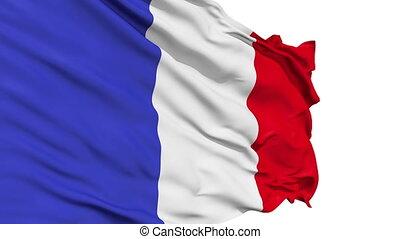 réaliste, drapeau, vent, france