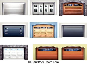 réaliste, ensemble, portes, garage