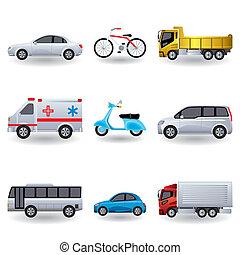 réaliste, ensemble, transport, icônes