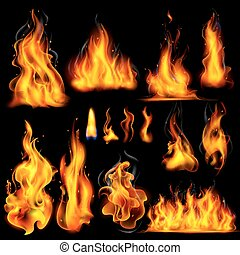 réaliste, flamme, brûler, brûlé