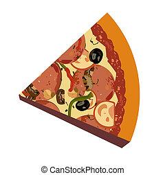 réaliste, fond blanc, illustration, pizza