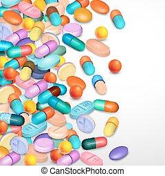 réaliste, fond, pilules
