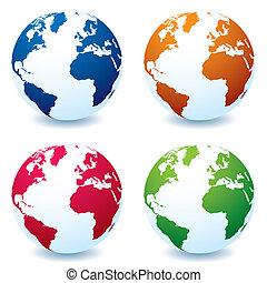 réaliste, globe, variation, la terre