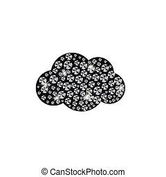 réaliste, illustration, vecteur, diamants, nuage