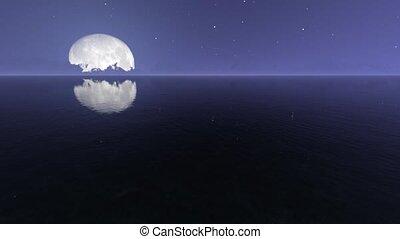 réaliste, métrage, lune, nuit, mer