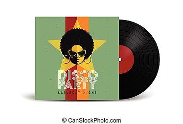 réaliste, mockup., couverture, disco, enregistrement, retro, vinyle, devant, vue., partie., design.