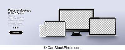 réaliste, moniteur, smartphone, tablette, ordinateur portable