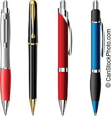 réaliste, stylo bille, ensemble, stylo