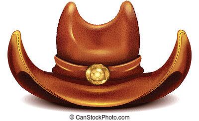 réaliste, vecteur, chapeau, cow-boy