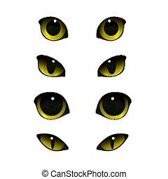 réaliste, yeux, chats, ensemble