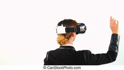 réalité, fond, casque à écouteurs, contre, business, virtuel, utilisation, blanc, femme, 4k