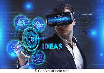 réalité, voit, réseau, fonctionnement, inscription:, concept., idées, virtuel, jeune, internet, homme affaires, technologie, business, lunettes