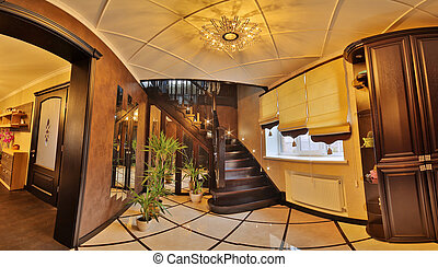 récemment, escalier, intérieur, modernised, maison, escaliers., escalier, couloir, intérieur, moquette