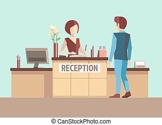 réception., vecteur, style, plat, concept, client