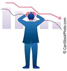 récession, économique, fracas