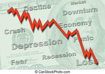 récession, concept, économie