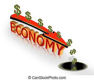 récession, graphique, économie, crise, 3d