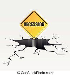 récession, profond, fissure