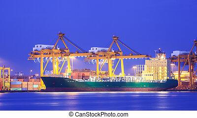 récipient cargaison, concept, port, exportation, logistique, importation, bateau, grue, transport