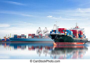 récipient cargaison, logistique, fonctionnement, pont, industry., chantier naval, fond, exportation, fond, international, importation, bateau, grue, transport