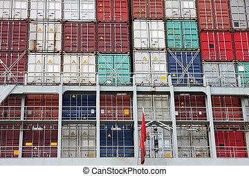 récipient cargaison, port, grand, hambourg, bateau