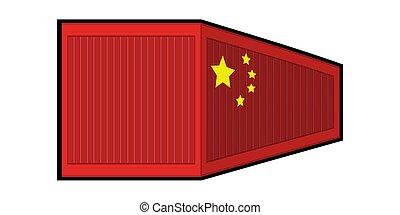 récipient, drapeau chine, isolé