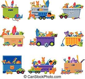 récipients, boîtes, vecteur, plastique, illustration, collection, bébé, jouets, jouets, divers, carton, coloré