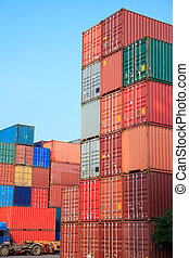 récipients, intermodal, pile, yard, cargaison