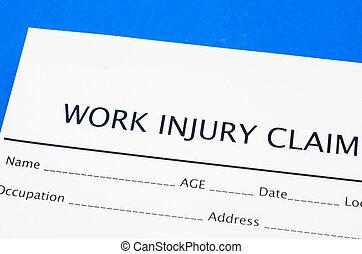 réclamation, blessure, travail, formulaire